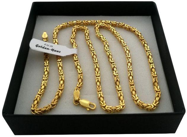 Unikalny łańcuszek królewski 50cm Bizantyjski srebro 925+24k ZŁOTO