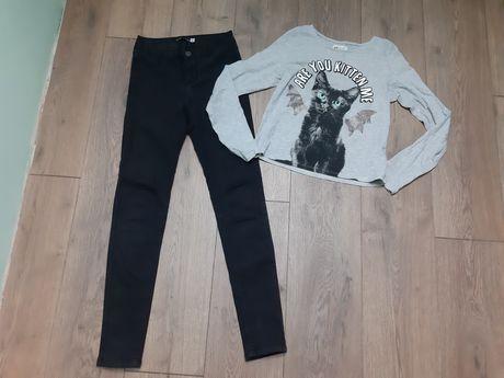 Bluzka Kot H&M 158 cm  Spodnie Jeansy Sinsay XXs