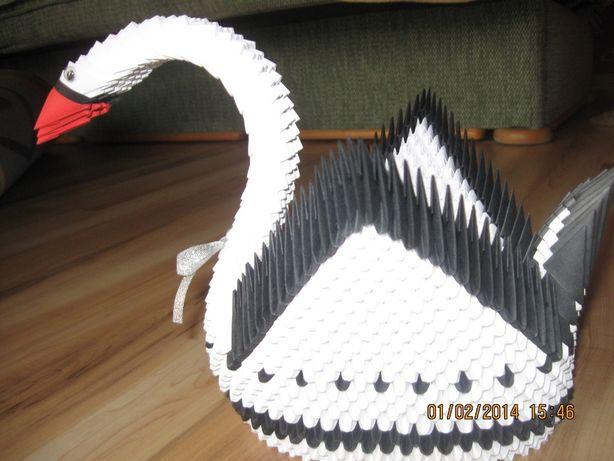 Łabędż origami modułowe wysokość 21 cm