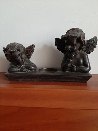 Świecznik 2 aniołki na tea light piękny ciężki solidny