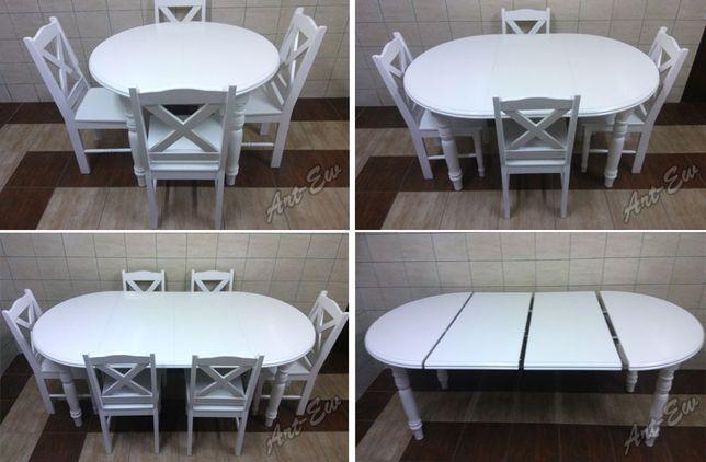 Stół okrągły rozkladany biały krzesła dąb ecru wanilia salon jadalnia