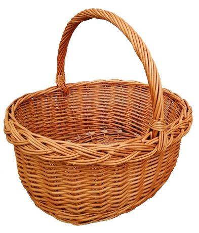 Koszyk wiklinowy świąteczny, na zakupy, grzyby, piknik - średni