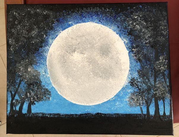 Tela pintada à mão - Luar
