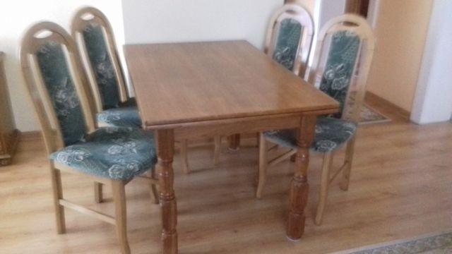 meble komplet drewno stół krzesła fotele komoda stolik kawowy