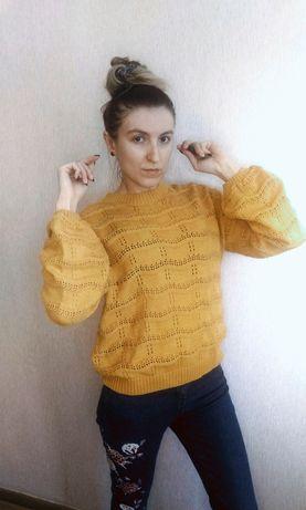 Тренд! Горчичный свитер, кофта, вязаный джемпер с объемными рукавами