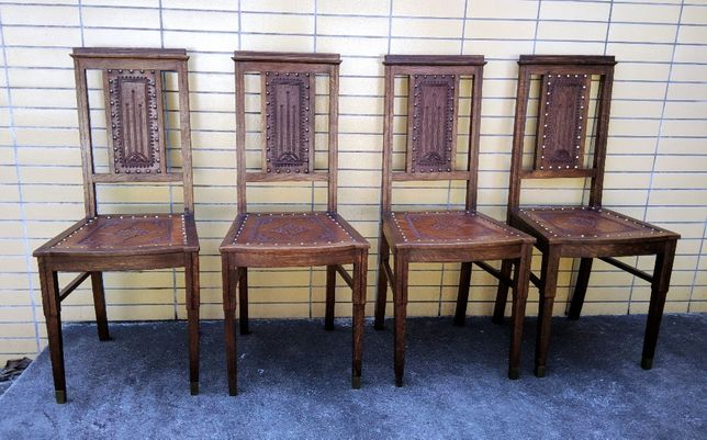Conjunto 4 Cadeiras Carvalho Couro