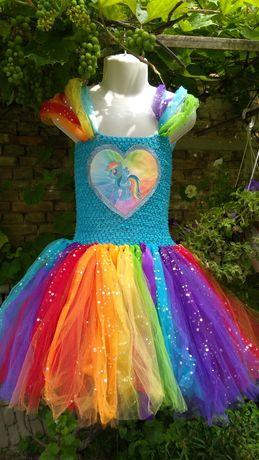 Платье нарядное карнавальное Пони Little Pony Rainbow Dash Радуга Дэш