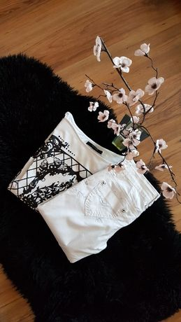 Cudny zestaw:)spodnie z haftem REDOE&JEANS bluzeczka RESERVED roz XS/S