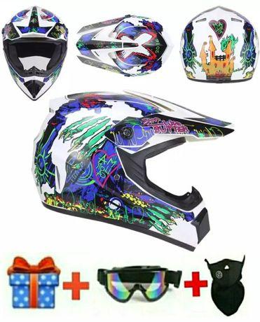 КРУТОЙ Кроссовый шлем Monster + 3 ПОДАРКА