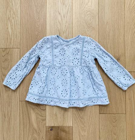 Zara r. 92 bluzka tunika haft szwajcarski koronka baby blue błękitna