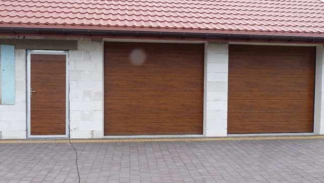 Brama segmentowa 250 x 200 okleina drewnopodobna drzwi garażowe