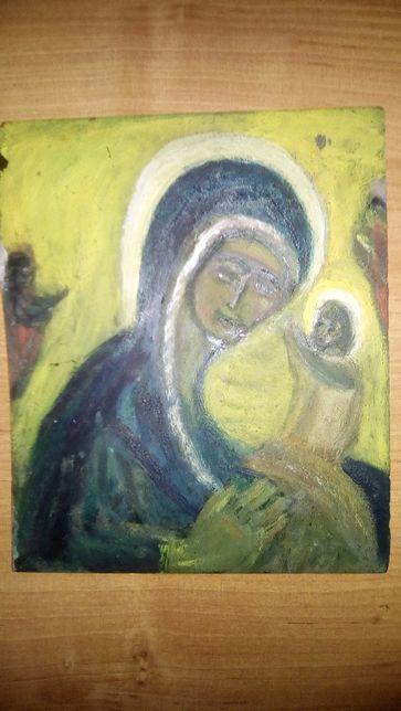 Stary obraz malowany na szkle.Matka Boska.