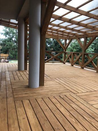 Taras drewniany , modrzew syberyjski kompozy ,zadaszenie,poliwęglan