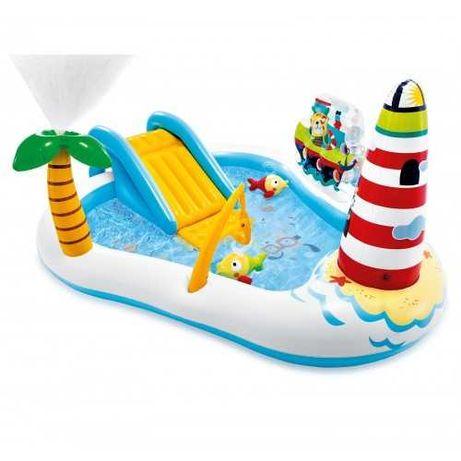 Детский надувной бассейн с горкой и рыбалкой