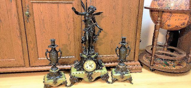 Wspaniały Wielki zegar kominkowy wraz z przystawkami zielony onyx