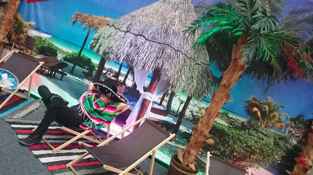 Dekoracje egzotyczne, hawajskie, sztuczne palmy, wynajem dekoracji