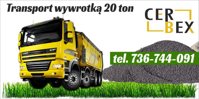 Transport wywrotką czteroośką 20 ton. 11 m3 piach