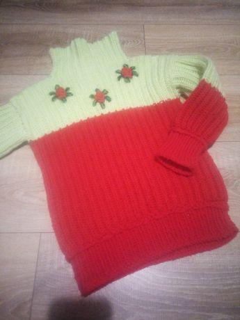 Теплая вязаная зимняя кофта для девочки 4-5 лет
