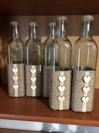 Butelki/ wazoniki w stylu rustykalnym/ dekoracje ślubne rustykalne