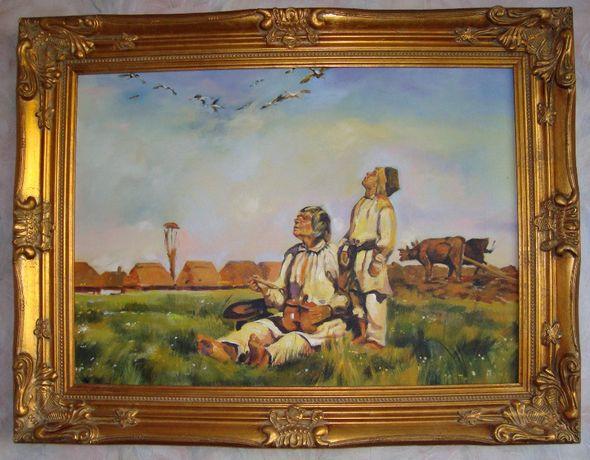 Olejny obraz,wspaniałsa kopia obrazu Bociany Józefa Chełmońskiego