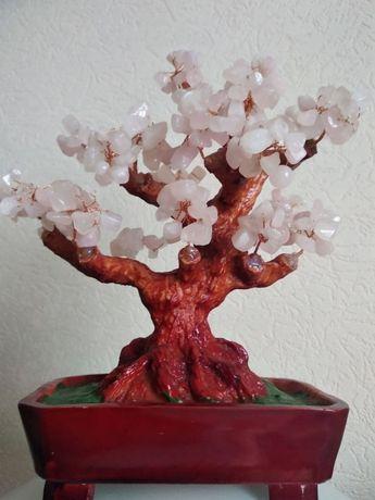 Дерево счастья ,удачи с розовым кварцем - фен-шуй сувенир