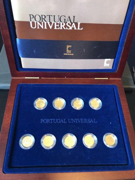 """Moedas em ouro """"Portugal Universal"""" 9 moedas de 1/4€"""