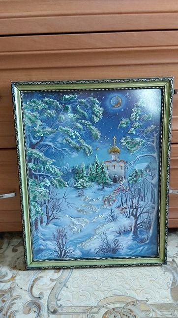 Продам картину вышывка бисером 31×39