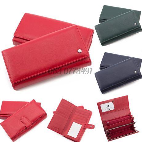 Женский кожаный кошелёк клатч портмоне с блоком для карточек