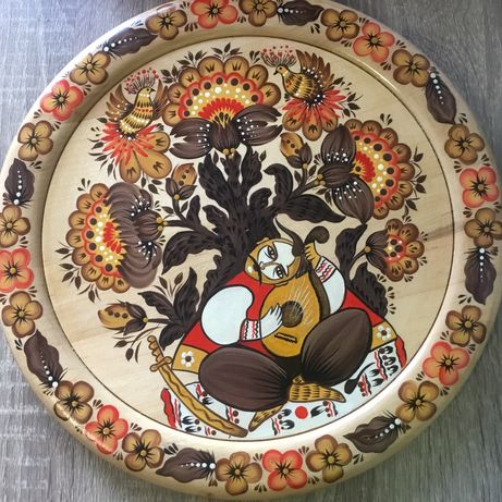 Тарелка настенная Гуцульская деревянная дерево
