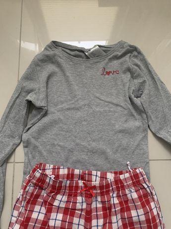 Piżama H&M rozmiar 134/140 szara góra i spodnie w kratkę czerwoną
