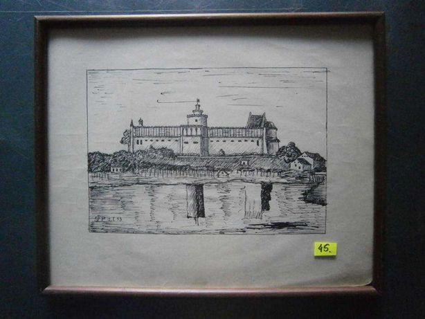 Obraz , piórko , Lublin , zamek , sygn. St.P.43 , wym. 31x25 cm.
