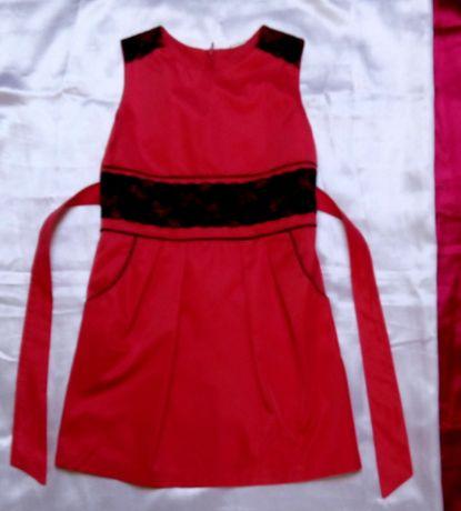 Elegancka sukienka z koronką malinowa 128/134