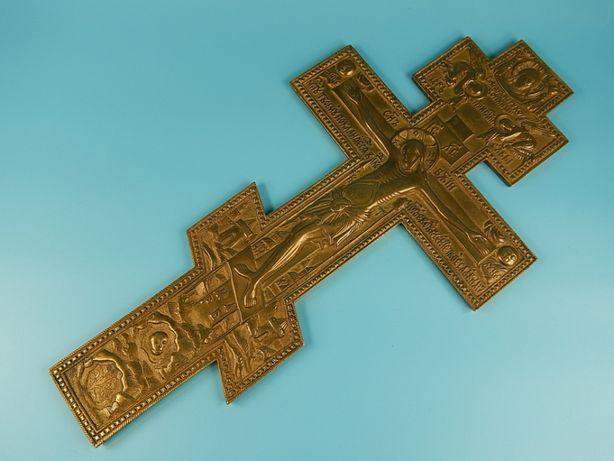 Восьмиконечный православный бронзовый крест. 38 см. 19й век.