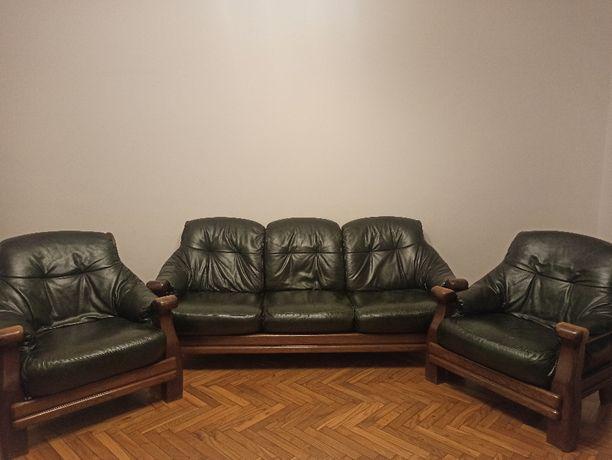 Kanapa skórzana + dwa fotele - drewniane - stan bardzo dobry - Kraków