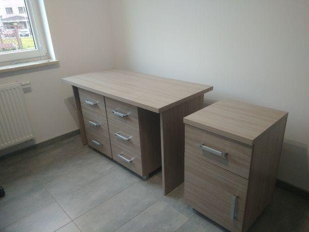 Meble biurowe, 3 stoły, 3 szafki, 2 krzesła obrotowe, szafa i witryna