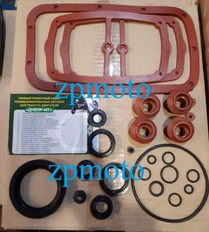 Набор красных резиновых сальников двигателя, коробки Днепр (Мт)