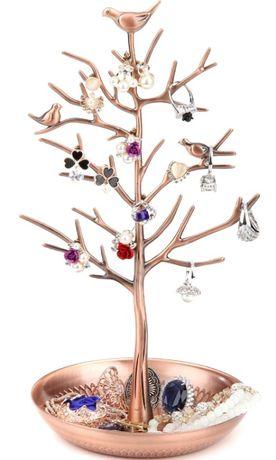 Stojak na biżuterię drzewko miedziane organizer