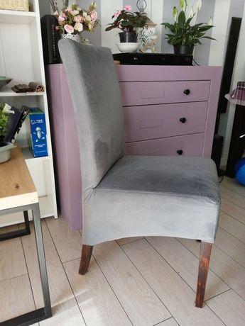 4 szare, aksamitne krzesła bardzo wygodne