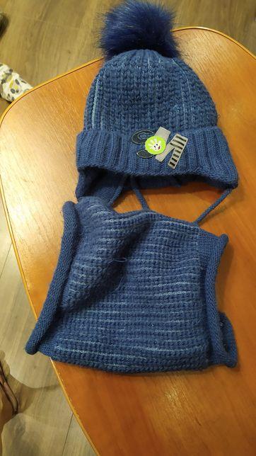 Шапка .комплект ( шарф и снуд)