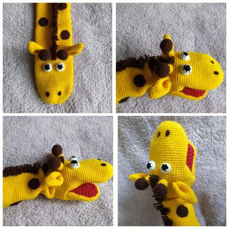 Кукла-перчатка, логопедическая игрушка, жираф крючком