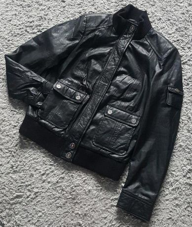 Оригинал.фирменная,кожаная,стильная куртка-бомбер tom tailor