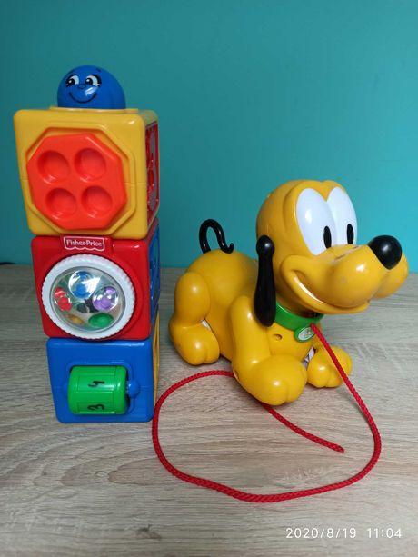 Magiczne klocki Fisher Price i pies Pluto na sznureczku