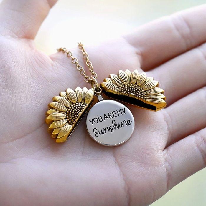 """OFERTA! Colar GIRASSOL Dourado """"You Are My SUNSHINE""""   Novo, Elegante"""