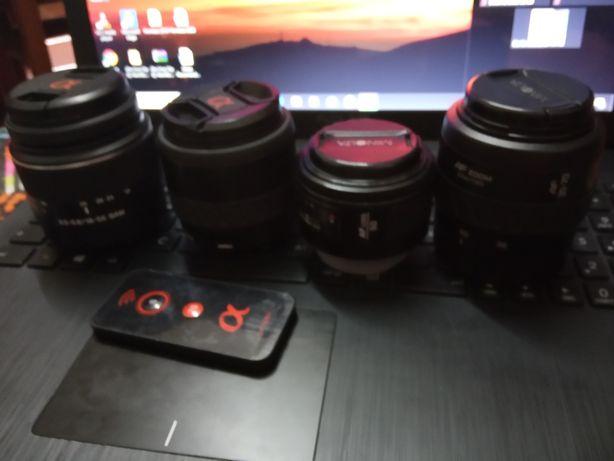 Lentes minolta/sony 35-105,35-70 zoom,18-55,50+Comando Sony a+tripé