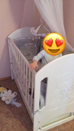 Детская кроватка Верес (люлька)+ кокосовый матрас+защитные бортики