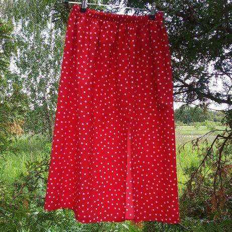 Летняя юбка миди с разрезом