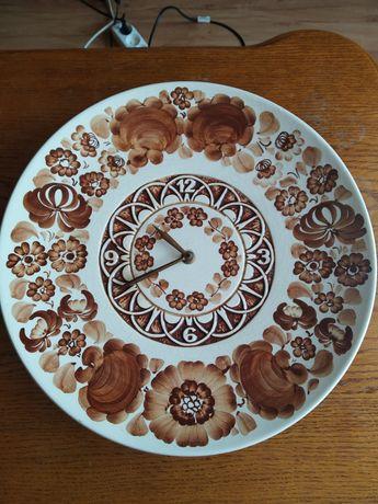 Zegar talerz ścienny mechaniczny ręcznie malowany PRL