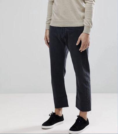 штаны джинсы levis 501 w32 cropped tapered jeans black