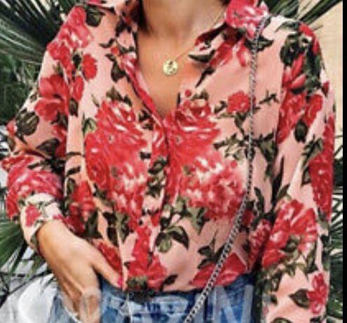 Zara koszula bluzka kwiaty xs s oversize