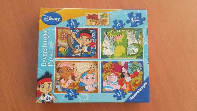 4 puzzles Jake e os piratas DISNEY
